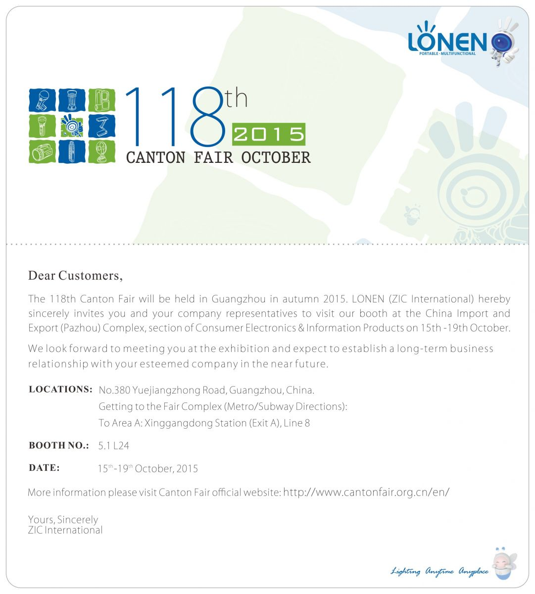 Lonen lighting rechargeable led flashlightslampslanterns invitation letter of 118th canton fair stopboris Choice Image
